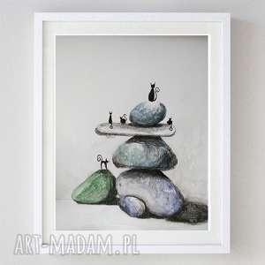 abstrakcja z kotami-praca formatu a4, abstrakcja, koty, kamienie, papier