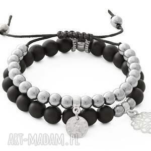 autorskie bransoletki silver hematite & blackstone with pendants
