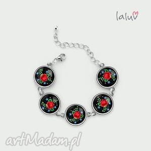 bransoletka haftowana róża, bransoleta, ludowa, folk, wycinanki, łowickie, serce