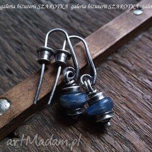 simply blue kolczyki z apatytów i srebra, apatyt, srebro, oksydowane kolczyki