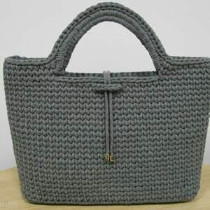 Torebka damska do ręki, bag, torba, torebka, autorska, szara, bawełniana