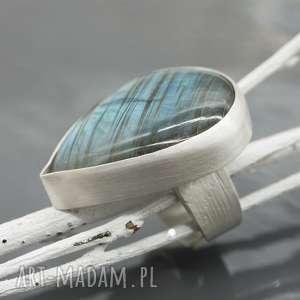 Duży, srebrny pierścionek z labradorytem - Chip, pieścionek, srebro,