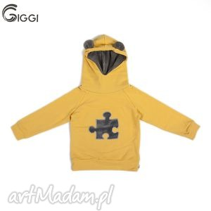 żółta bluza puzzel r 122-158, bluza, kaptur, ubranka