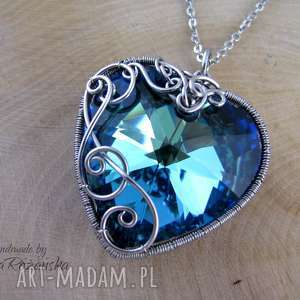 Wisior Swarovski Heart Bermuda Blue 28mm, wire wrapping, wisiorek, naszyjnik