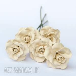 ceramika ceramiczne róże ręcznie lepione jasne matowe, ceramiczna, róża, prezent