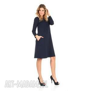 44/2 sukienka trapezowa, granatowa, długa, sukienka, dzianina, kieszenie, trapez