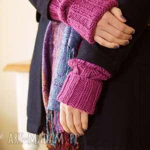 rękawki amarantowe, rękawki, płaszcz, wełniane, dziergane