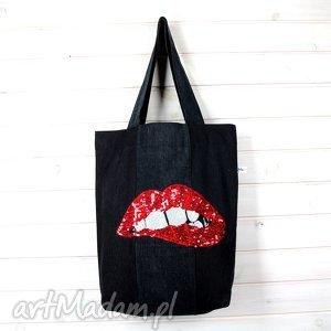 na ramię dżinsowa torba z cekinam usta, torebka, dżinsowa, cekiny, laptop