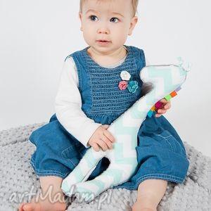 mięciutka, żyrafka minky - miętowe zygzaki - zabawka, pluszak, minky