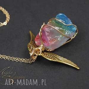 ~angelo~ naszyjnik wisiorek KAMIEŃ TĘCZA skrzydła, wisiorek, naszyjnik, kamień, tęcza
