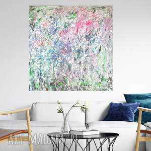 obraz ręcznie malowany 100x100, pastelowy obraz, nowoczesny duża
