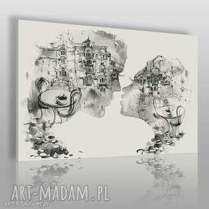 Obraz na płótnie - POCAŁUNEK RESTAURACJA CZARNO-BIAŁY 120x80 cm (56102), pocałunek