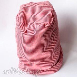 czapka unisex damska męska - czapka, paski, wiosna, bawełna, dzianina, sport