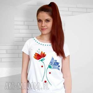 piękna bluzka w kwiaty - certyfikowana ekskluzywna bawełna, koszulka, shirt