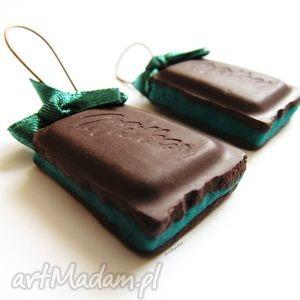 KOLCZYKI czekoladki z nadzieniem miętowym, kolczyki, czekoladki, modelina, masa, fimo