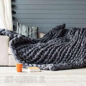 hand-made koce i narzuty pled xxl 120x160 cm wełna merynos 100 %