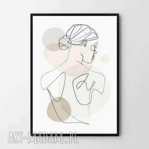 plakat obraz natalie 50x70 cm b2, kobieta, linie, dom