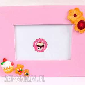Różowa ramka z ciasteczkami ramki viviart modelina, fimo, słodka
