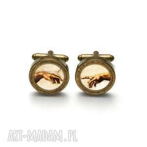 hand made spinki do mankietów eleganckie z grafiką stworzenie adama