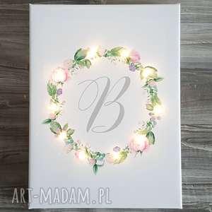 świecący obraz wianek litera prezent urodziny, prezent, obraz, świecący