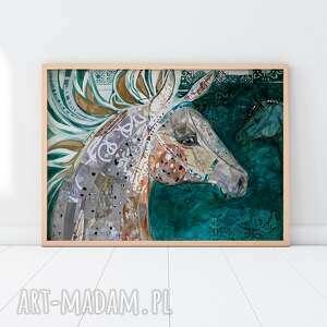 Plakat a2 - koń w zieleni szmaragdowej plakaty creo plakat