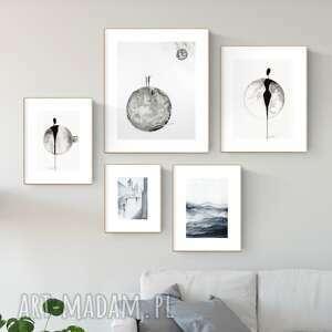 zestaw 5 obrazów wykonanych ręcznie, styl skandynawski, obraz do salonu, 2526592