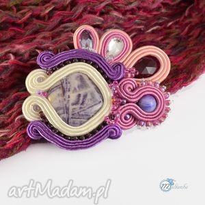 Różowo-fioletowa broszka sutasz, soutache, gmlamour, brooch, swarovski