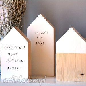 dekoracje 3 domki drewniane, domki, domek, drewna, skandynawski, nordic