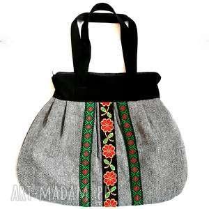 handmade na ramię torebka damska retro szara
