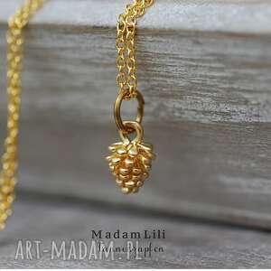 pozłacany łańcuszek szyszka - szyszka, naszyjnik, medalion, las, natura