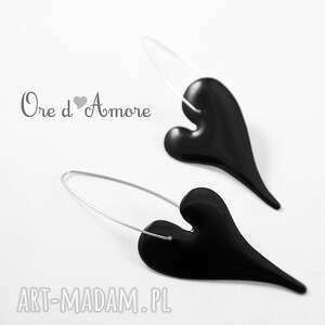 Ore d'amore black love olga zielinska srebro, serce, kolczyki