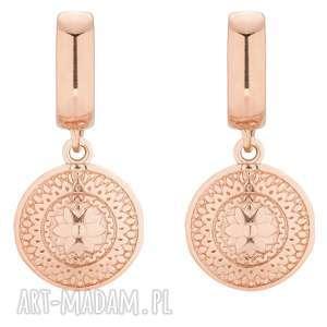 kolczyki z różowego złota z medalionami - okrągłe