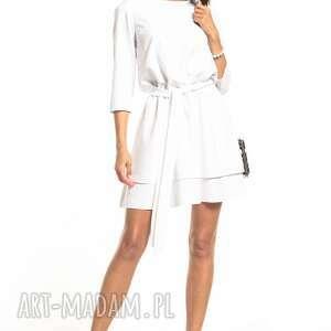 elegancka sukienka z podwójną spódnicą, t320, biały, elegancka