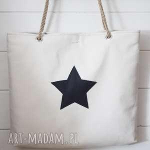 Torba z gwiazdą, torba, torebka, letnia, plażowa, damska, bawełniana