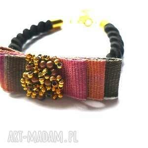 kolorowa kokardka ombre z koralikami, kokardka, kokarda, ombre, sznurek