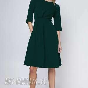 sukienka z rozkloszowanym dołem, suk122, zieleń butelkowa, mini, midi, święta
