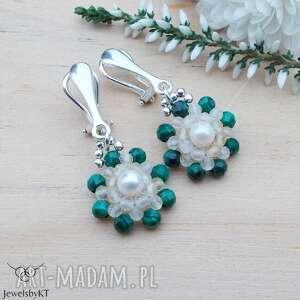 klipsy malachitowe z perłą - klipsy, srebrna biżuteria, srebrne