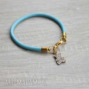 bransoletki niebieska skórzana bransoletka miś, misio, bransoleta, skóra