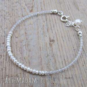 Delikatna bransoletka z perły i kryształu irart kryształ,