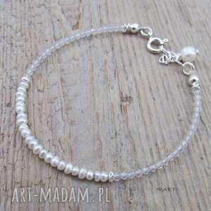 delikatna bransoletka z perły i kryształu, kryształ, perła, bransoletka