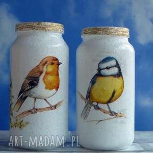 ptaki dekoracja komplet ręcznie malowanych słoiczków - decoupage