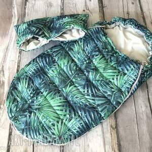zimowy śpiworek do wózka palmy 0-9mcy, śpiworek, spiwór, palmy, liście, monstera