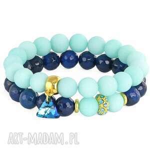 sada 2 - mint & navy blue - jadeit, agat