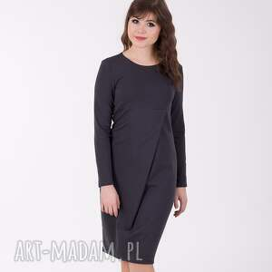 Liza sukienka z efektowną zakładką, ciemno szara sukienki lalu