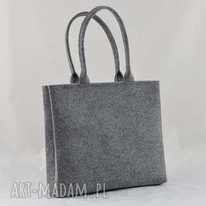 handmade na ramię szara torba - minimalistyczna z suwakiem