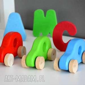 3 x samochody drewniane, samochód, samochodzik, autko, auto, pojazd