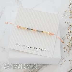 bransoletka minimal - autumn peachy srebrna, minimalistyczna