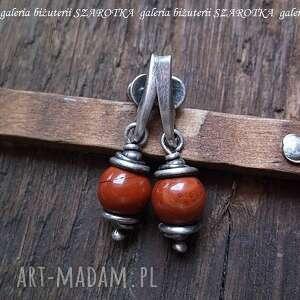 rdzawe kolczyki z rudego jaspisu i srebra, jaspis, srebro, oksydowane biżuteria