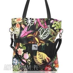 czarna torba w kwiaty z kieszeniami, kolorowa, kwiaty, czarna, duża, pojemna