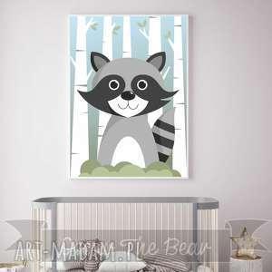 plakat dla dzieci szop a4, szop, las, zwierzęta, plakat, obrazek, drzewa